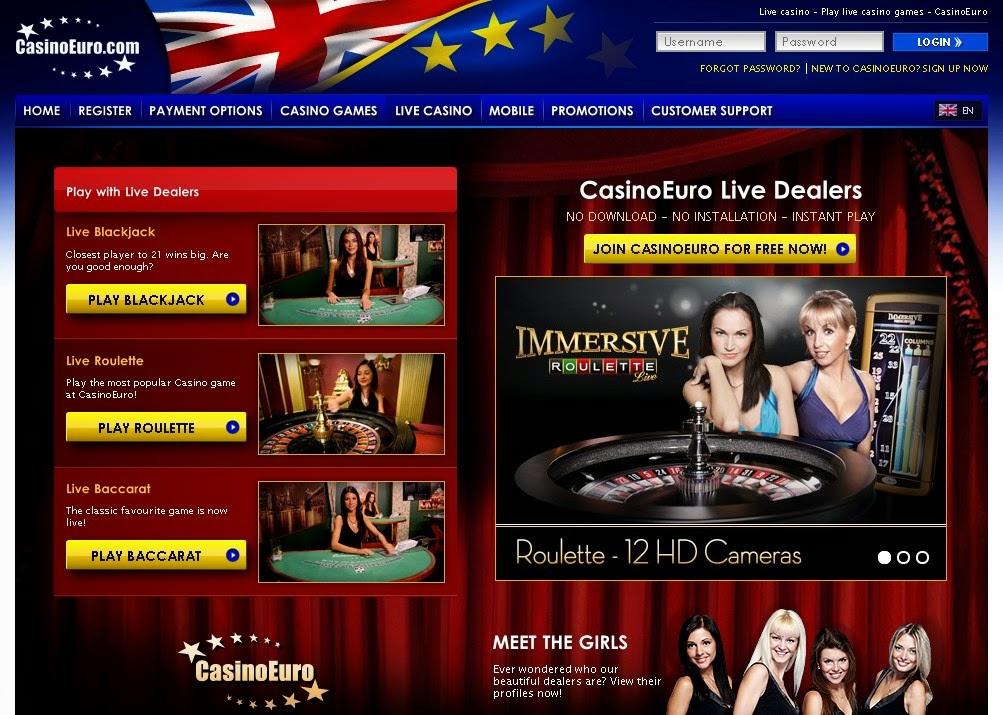 CasinoEuro Live Dealers Screen