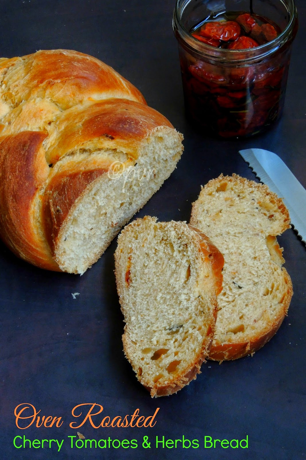 Eggless Oven Roasted Cherry Tomatoes & Herbs bread