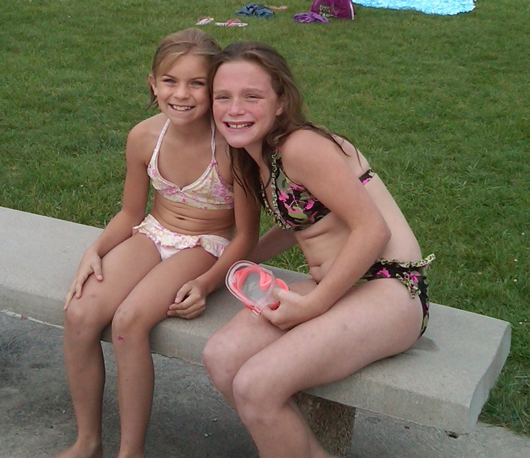 sister at pool pics