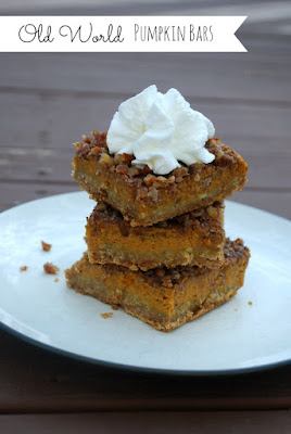 Old World Pumpkin Bars (The Gingered Whisk) The Best of Fall! Layered oatmeal crust, pumpkin pie and pecan pie all in one! YUM!