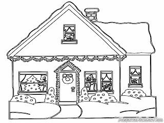 Mewarnai gambar rumah natal yang sudah didekorasi