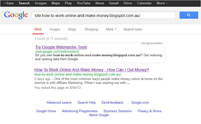 Make money online - check if your website has been indexed by google