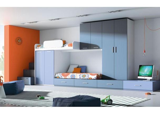 si tenemos que acoplar a nios en una habitacion pequea esta solucion de litera abatible con mesa de estudio nos soluciona el espacio para camas y