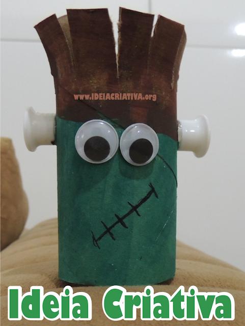Frankenstein de Rolo de Papel Higiênico Halloween Reciclável