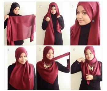 Gambar Cara Mudah Pakai Hijab Paris Modern