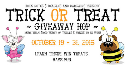 poster for Trick or Treat giveaway blog hop with cute cartoon dogs