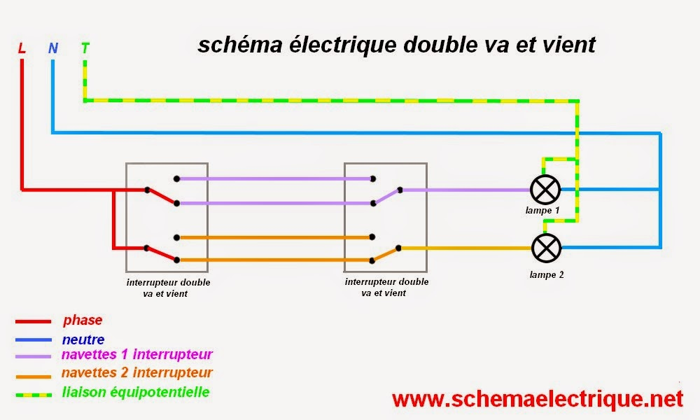 schema electrique va et vient 2 interrupteur 2 lampes wire center. Black Bedroom Furniture Sets. Home Design Ideas