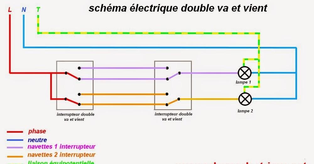 schema electrique branchement cablage schema branchement cablage double va et et vient. Black Bedroom Furniture Sets. Home Design Ideas