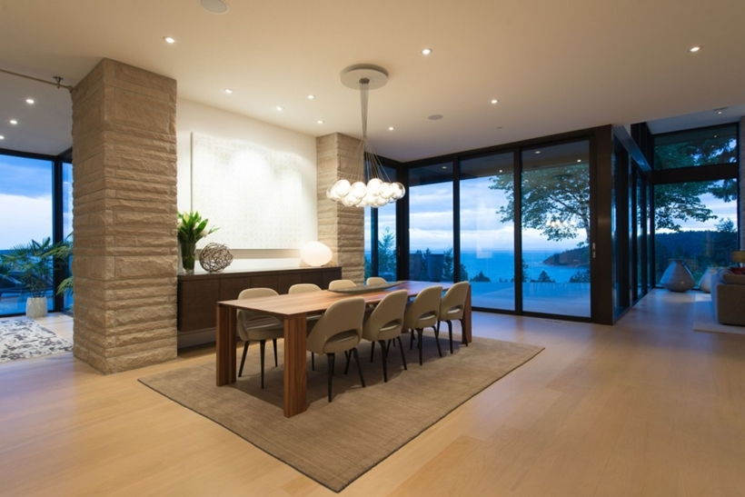 Dining Room In Elegant Modern House West Vancouver Canada