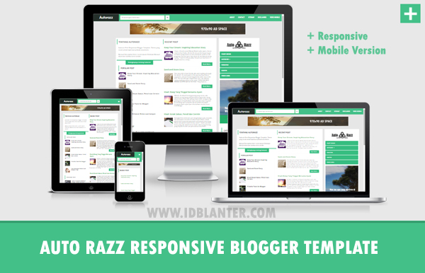 Auto Razz Responsive Green Blogger Template