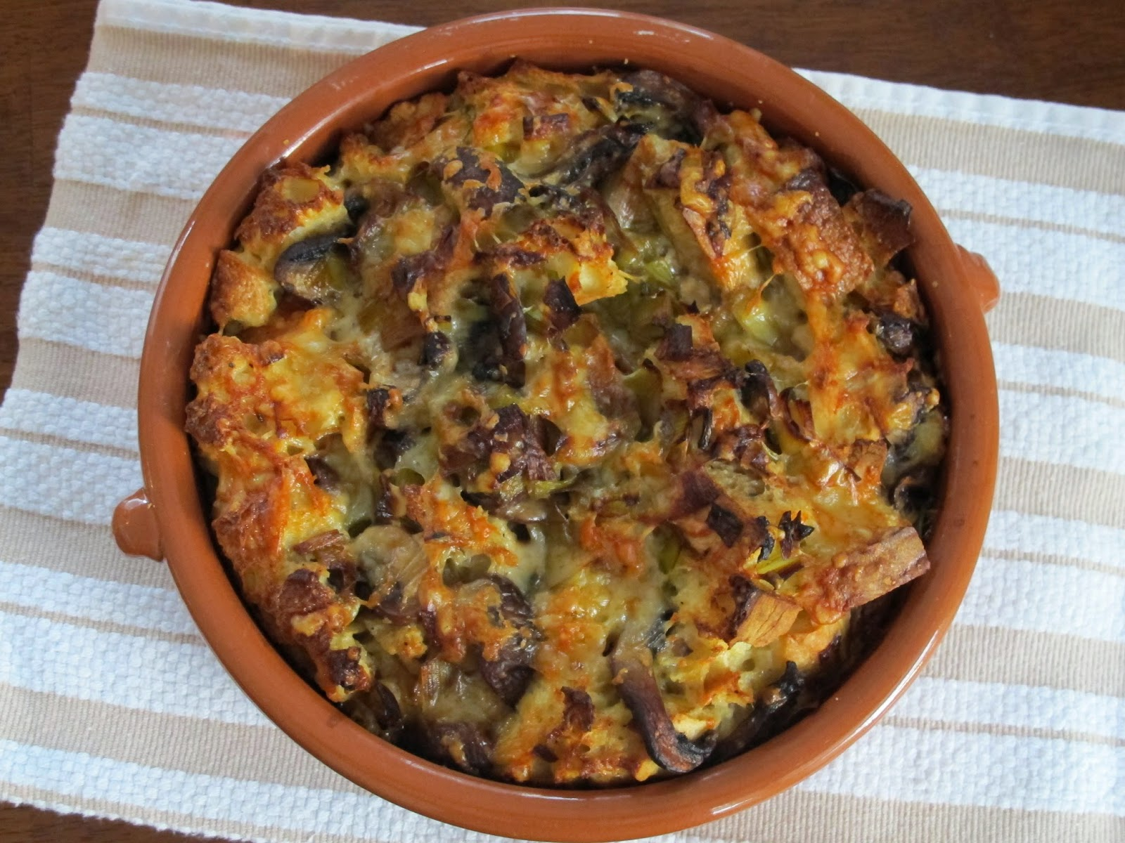 Leek and Mushroom Bread Pudding