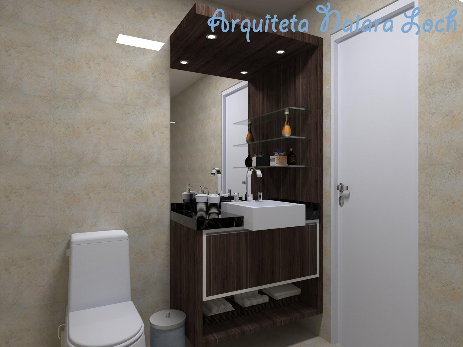 Banheiro social com iluminação superior vidros para apoiar perfumes  #3A6691 1600x1200 Armario Banheiro Superior