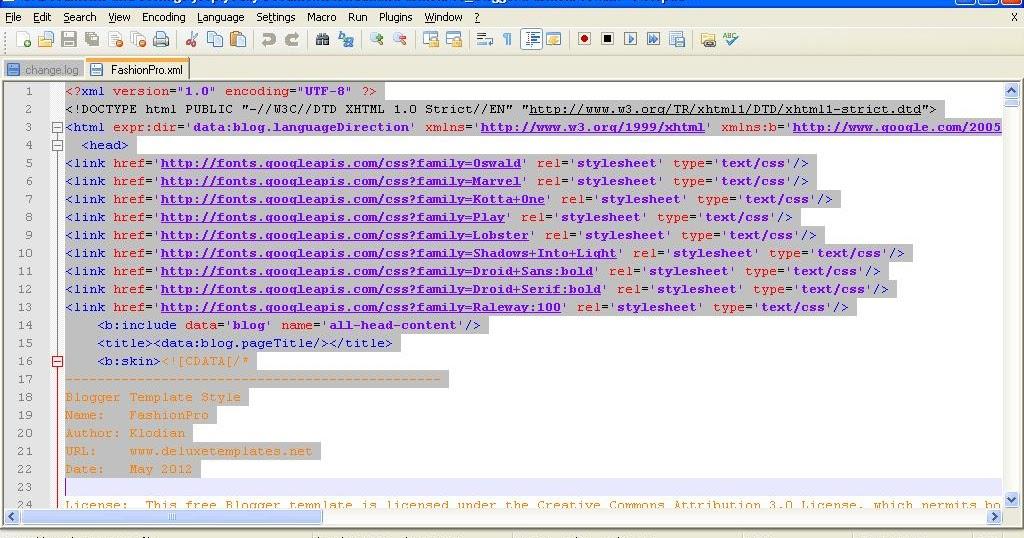 Xml Template | notepad plus
