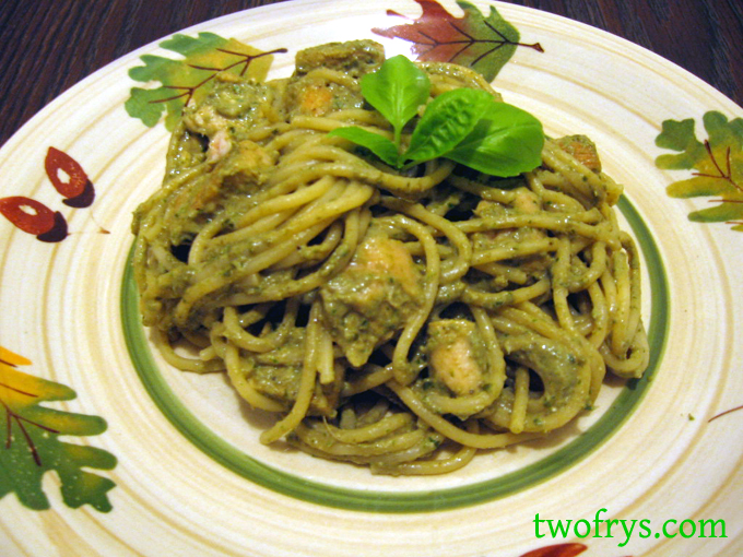 Two Frys: Creamy Basil Pesto Pasta With Chicken