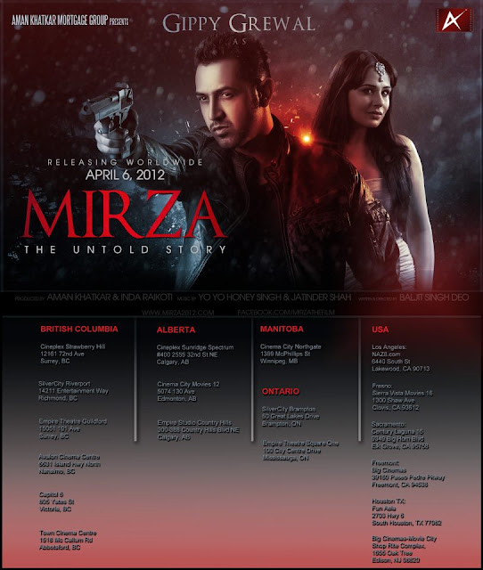 Mirza - The Untold Story - Canada & US Locations