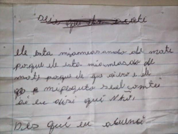 Em trecho de carta, menina relata que era ameaçada de morte (Foto: Divulgação/Polícia Civil)