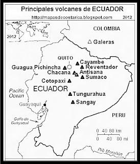 Mapa de los principales volcanes de ECUADOR, blanco y negro