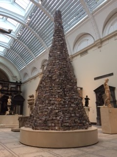 Pic of Tower of Babel artwork of bone china shops at V&A Museum in London