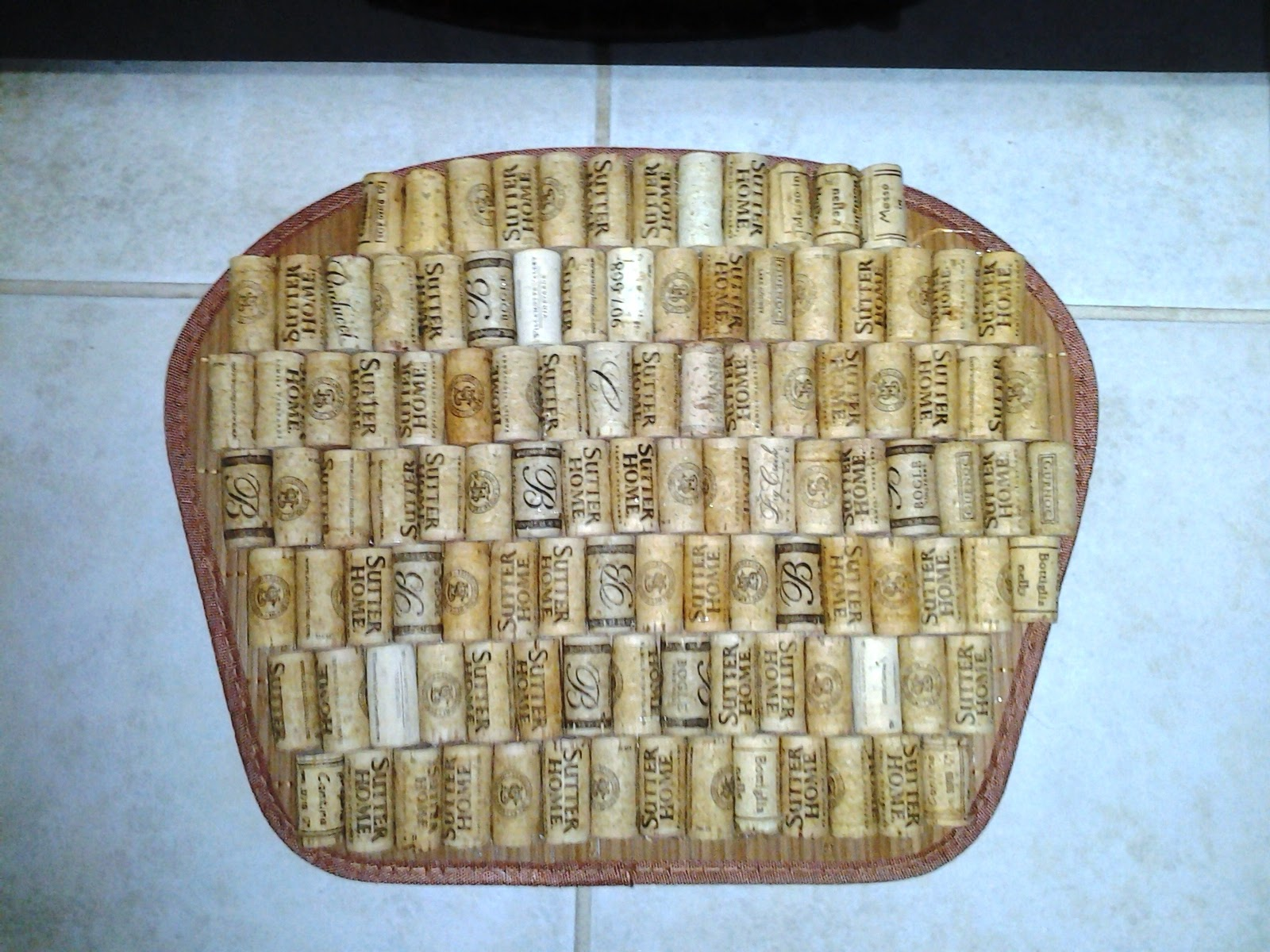 Silver trumpets wine cork blessings for Wine cork welcome mat