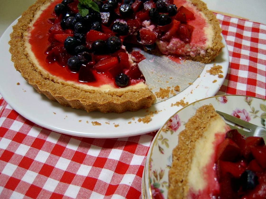 Through The Kitchen Door: Red, White And Blueberry Cheesecake Tart
