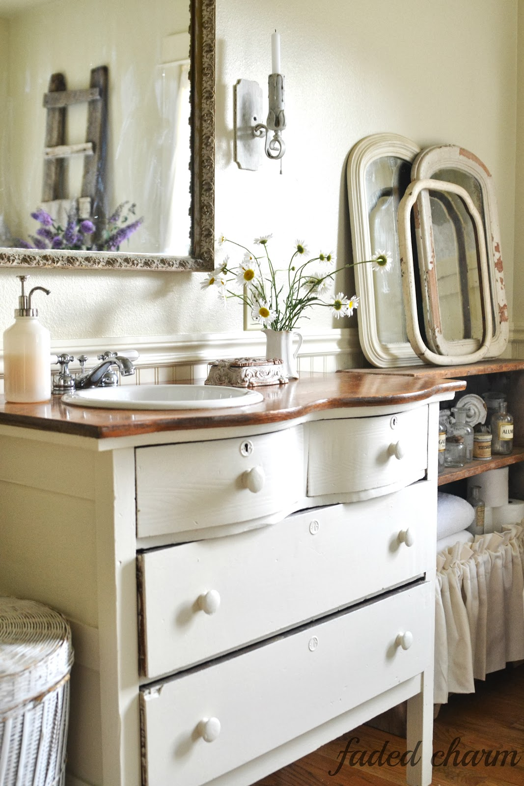 Faded charm a romantic vision - Bathroom vanities from old dressers ...