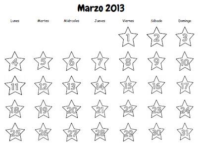 Plantilla de calendario Marzo 2013.