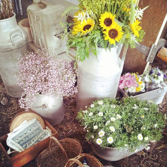 oh!mywedding: lecheras antiguas en la decoración de la boda