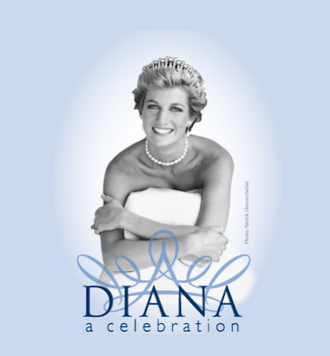 a picture of princess diana smiling with a tiara on and pearl necklace and white gown for the exhibit at the frazier museum