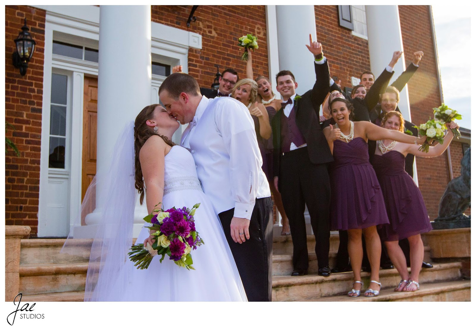 Jonathan and Julie, Bird cage, West Manor Estate, Wedding, Lynchburg, Virginia, Jae Studios, bridesmaids, groomsmen, flowers, purple, kissing, wedding dress, tuxedo, veil, funny