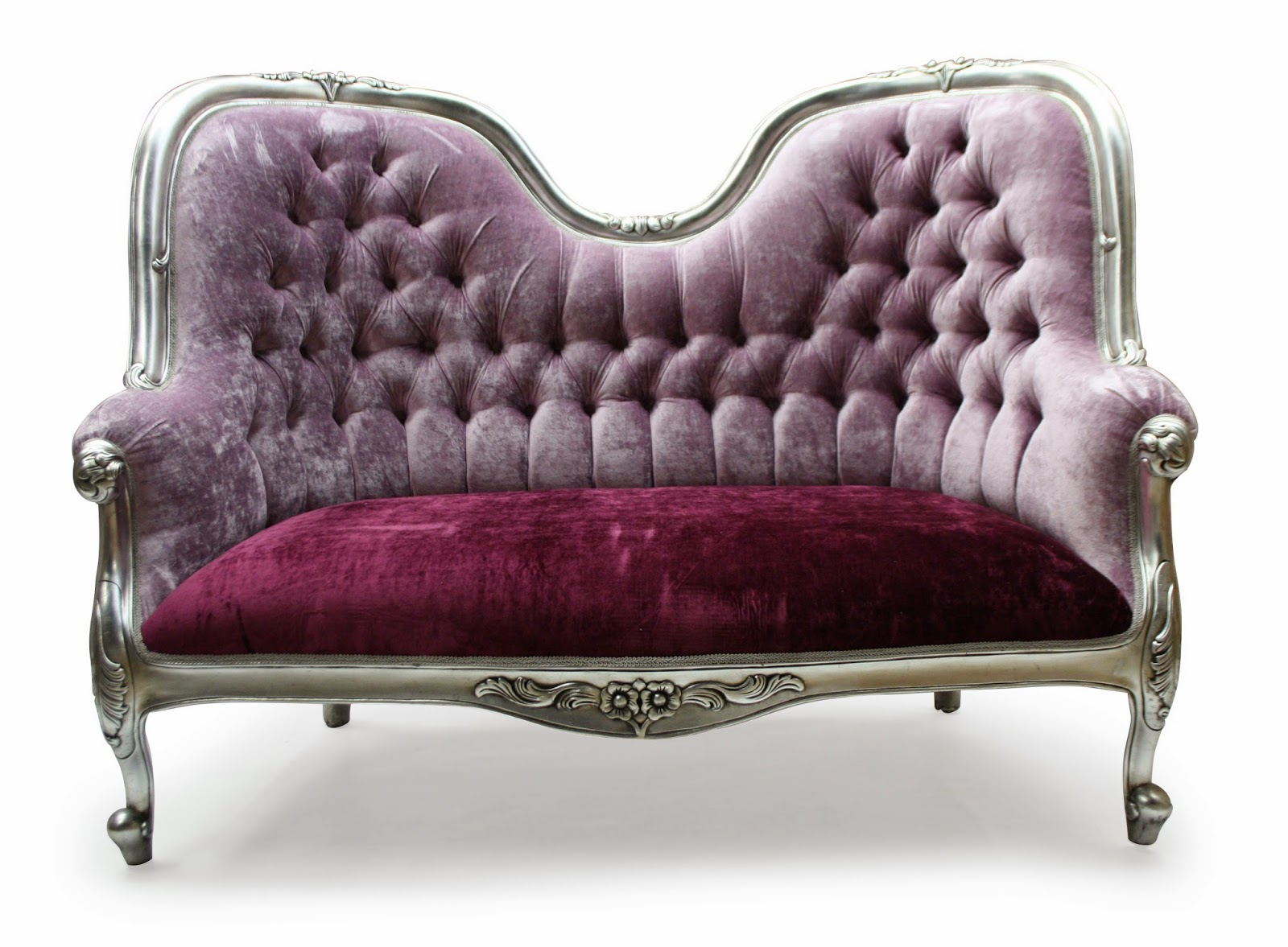 Purple Vintage Love Seat Sofa