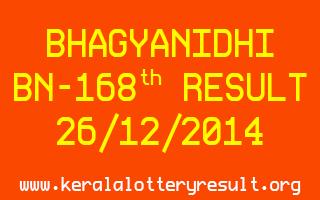 BHAGYANIDHI Lottery BN-168 Result 26-12-2014
