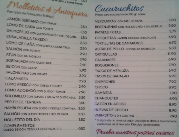 Carta de Molletitos y Cucuruchitos
