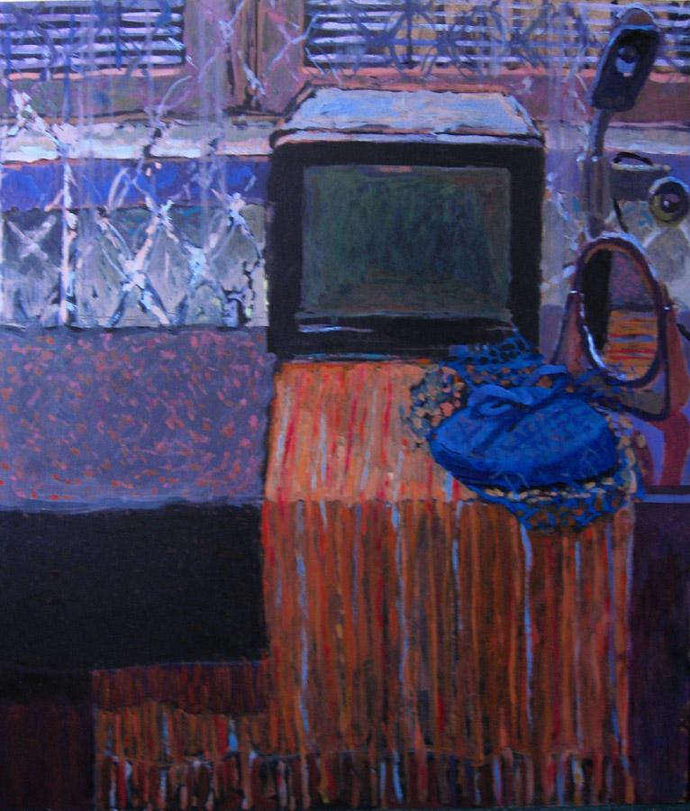 malarstwo olejne ciekawa martwa natura domowa telewizor lustro retro kapelusz Urbaniak