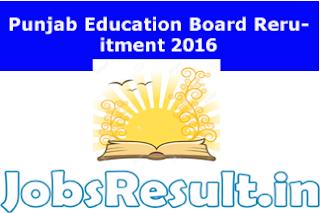 Punjab Education Board Recruitment 2016