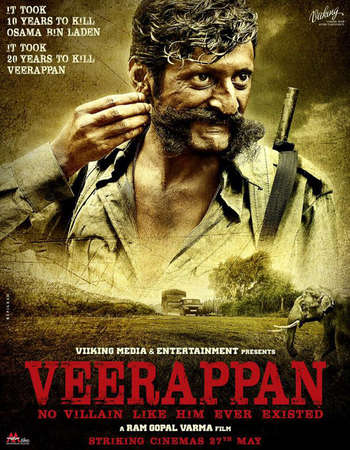 Poster Of Veerappan 2016 Hindi 130MB pDVD HEVC Mobile Watch Online Free Download Worldfree4u