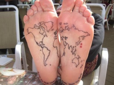 world map tattoo foot. world map tattoo foot.