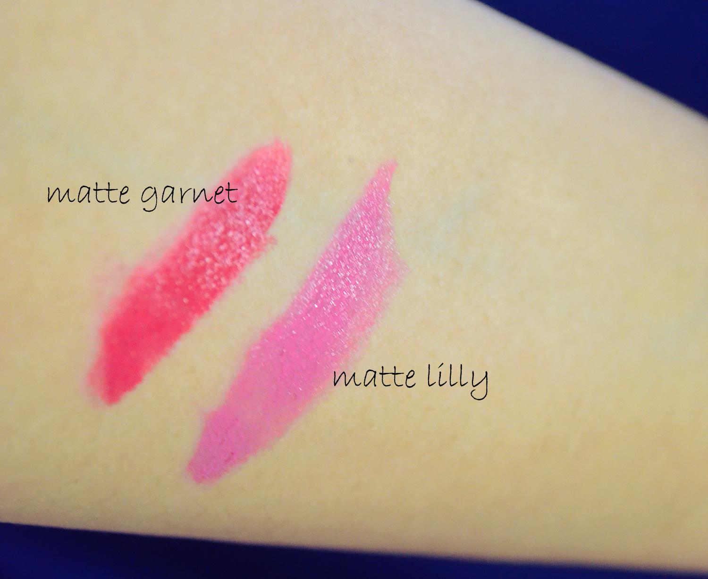 Ultra Color Matte Lipsticks matte garnet, matte lilly