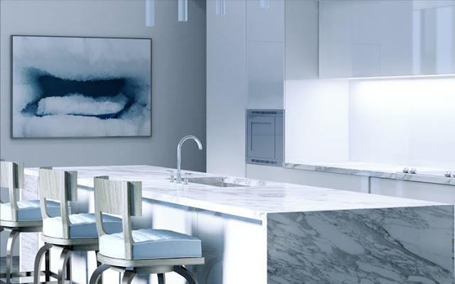 Rendering of the kitchen island in one of the future apartments