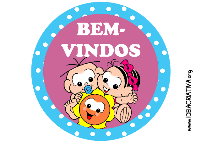 Placa Bem-Vindos Turma da Mônica Baby