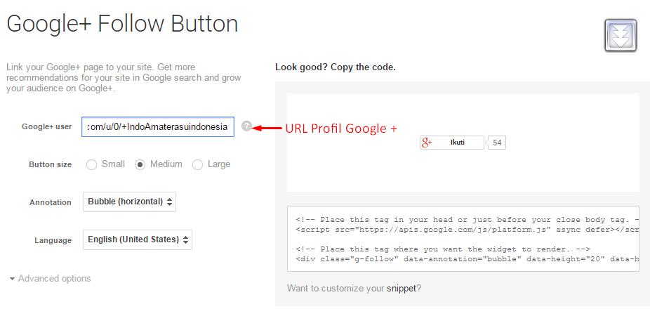 Cara menambahkan tombol follower Google Plus pada website/ blog