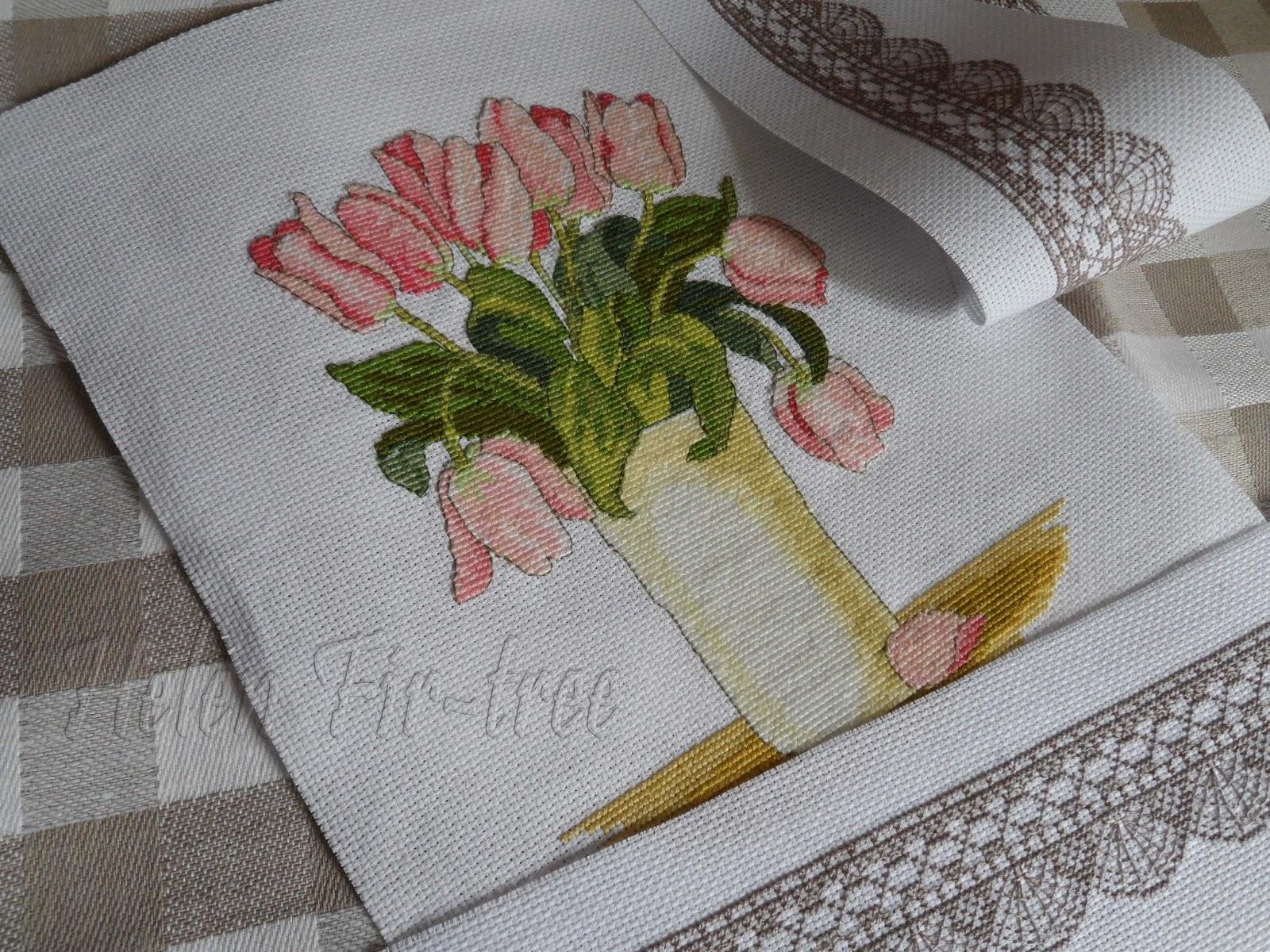 Helen Fir-tree вышивка крестом тюльпаны cross stitch tulip pillow