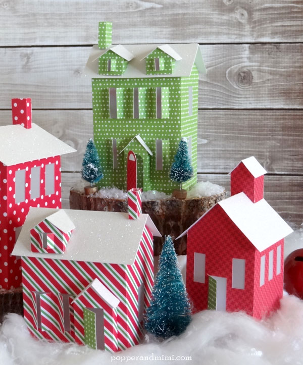Make your own tea light winter village with Cricut Explore | popperandmimi.com