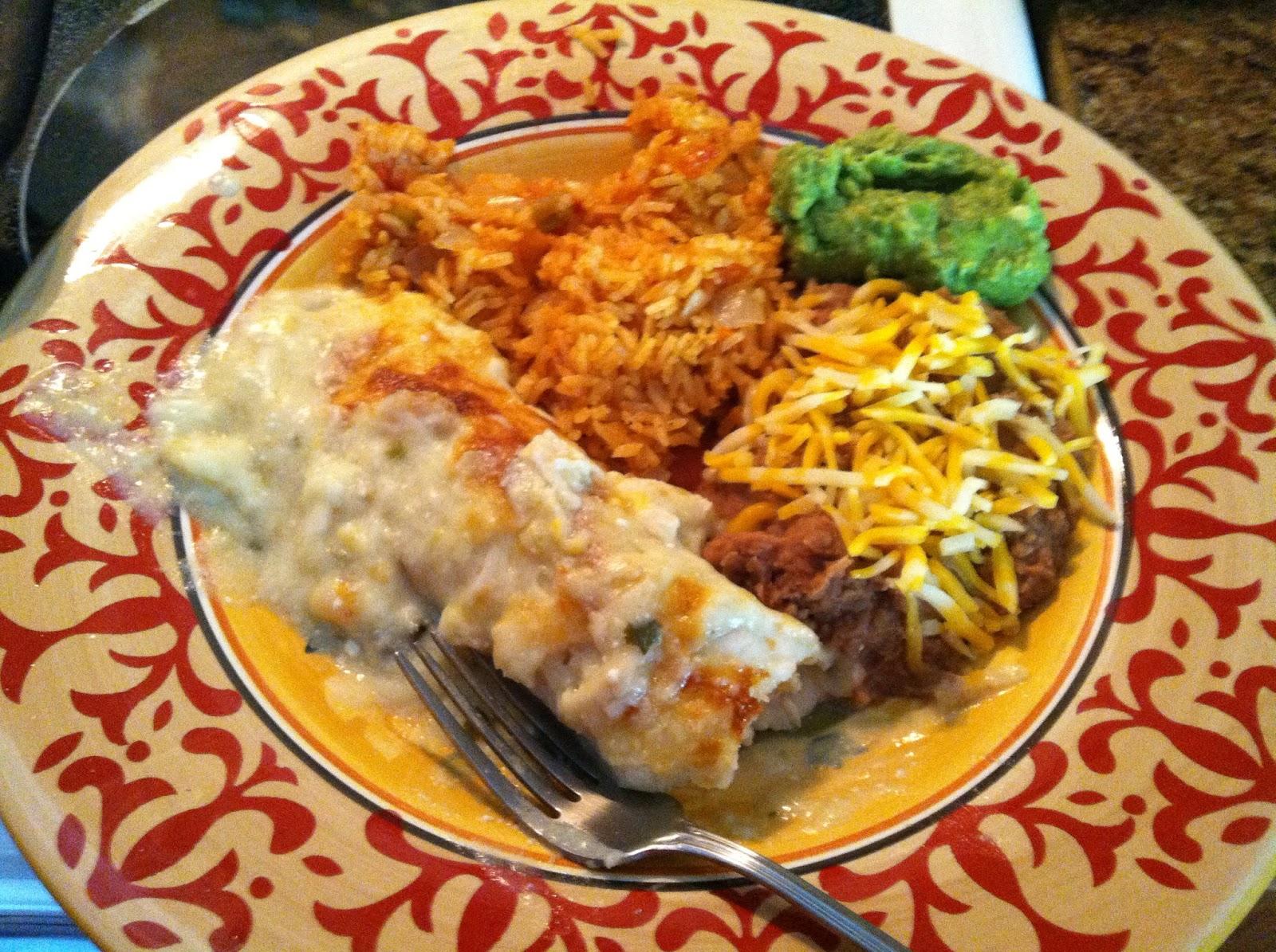 ... Walker: White Chicken Enchiladas with Salsa Verde Sour Cream Sauce