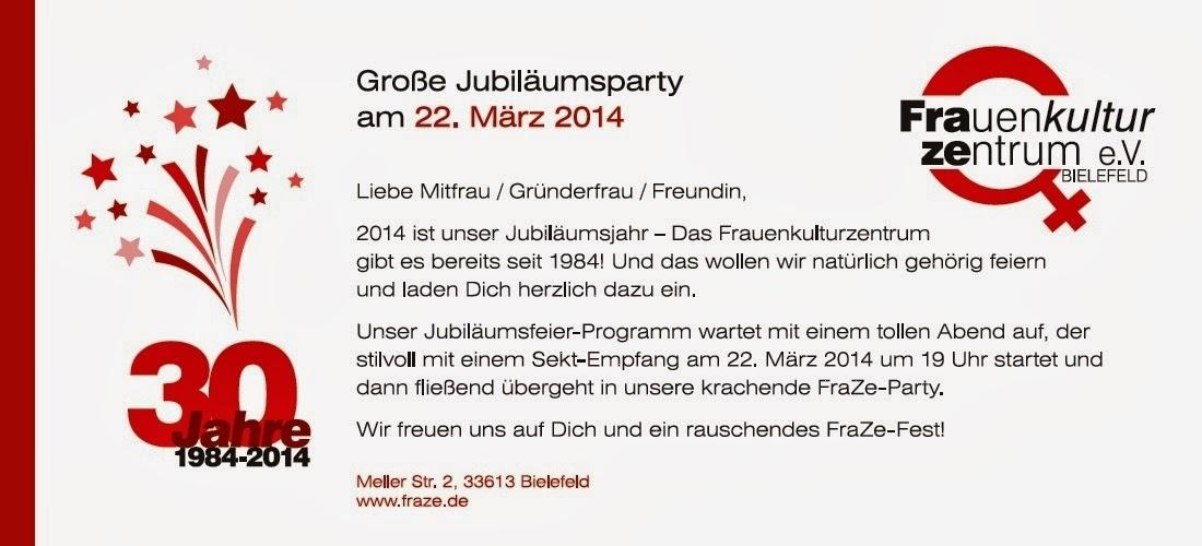 frauenkulturzentrum bielefeld e.v.: 22.03.2014 30 jahre fraze, Einladung