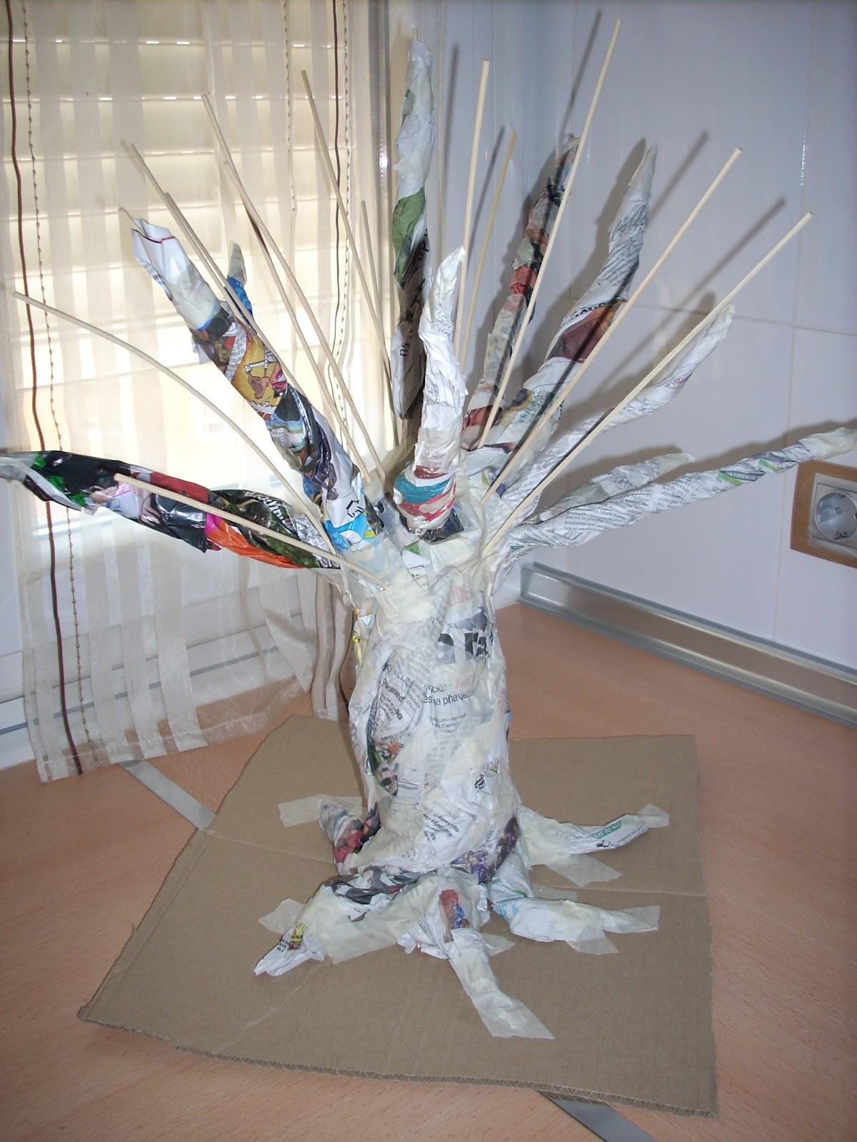 Como hacer un arbol grande de papel los trabajos de ana - Como hacer un arbol de papel grande ...