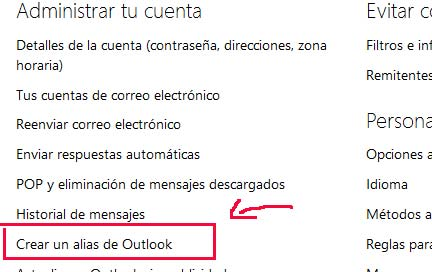 crear un alias en outlook correo