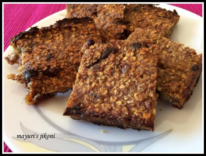 Mayuri's Jikoni: 525. 4 Ingredient banana oat bars