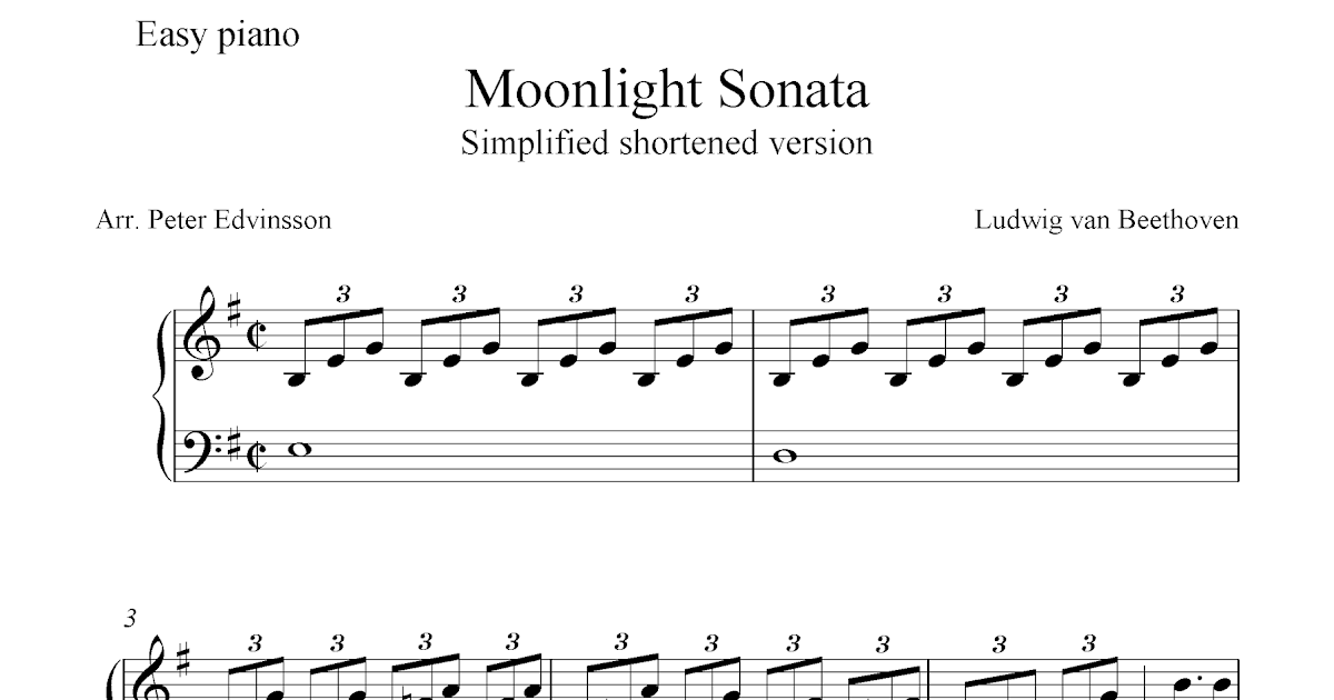 Free easy piano sheet music, Moonlight Sonata by Beethoven