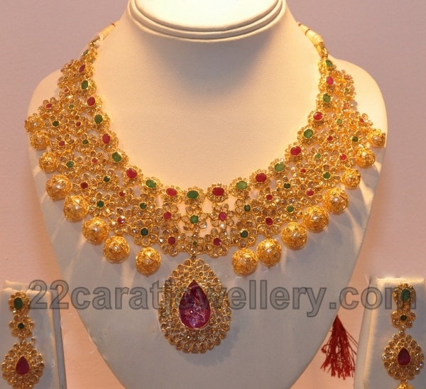 sets gold beautiful earring necklace designer bridal set heavy exclusive