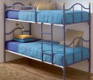 cama alta azul, cama forja litera, cama alta niños, cama infantil
